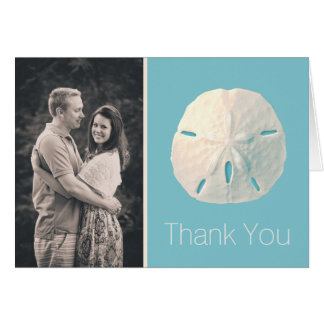 Sand Dollar Wedding Photo Thank You Note Card