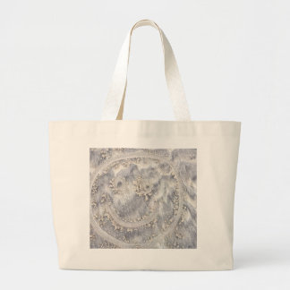 Sand drawing. Sunny smiley face on the beach Large Tote Bag