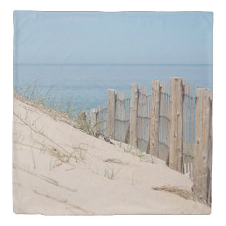 Sand dune and beach fence duvet cover