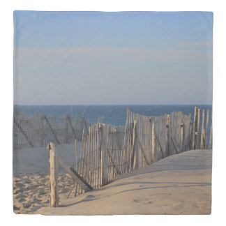 Sand dunes and beach fence duvet cover