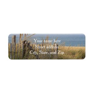 Sand dunes and beach fence return address label