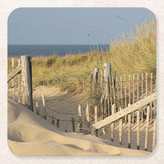 Sand dunes and beach fence square paper coaster