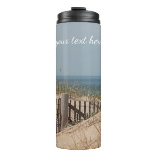Sand dunes and beach fence thermal tumbler