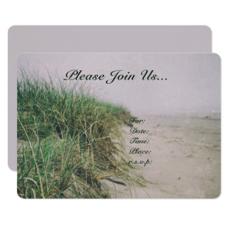 Sand Dunes Beach Grass Shoreline Nature Wedding Card