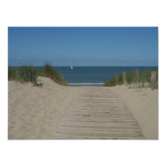 Sand Dunes Beach Wave Boat Photo Poster Print