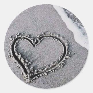 Sand Heart Classic Round Sticker