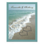 "Sand Hearts~ Beach Destination Wedding Invitation 4.25"" X 5.5"" Invitation Card"