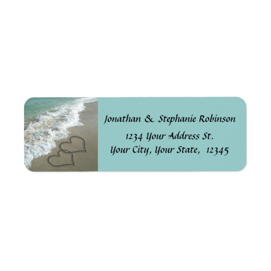 sand hearts beach return address label