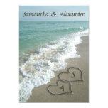 Sand Hearts Initials, Beach Destination Wedding 5x7 Paper Invitation Card