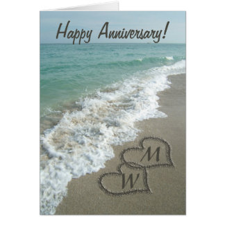 Sand Hearts on Beach Personalized Anniversary Card