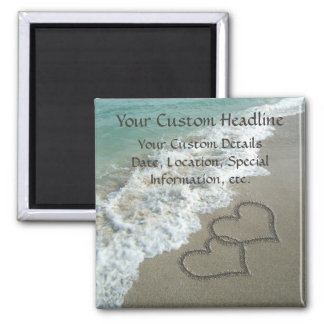 Sand Hearts on Beach, Romantic Save the Date Fridge Magnet