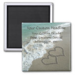 Sand Hearts on Beach, Romantic Save the Date Square Magnet