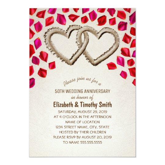 Sand Hearts Rose Petal Beach Wedding Anniversary Card