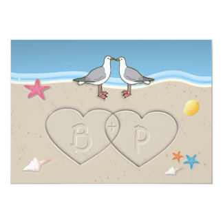 Sand Initials Beach Themed Wedding Invitations
