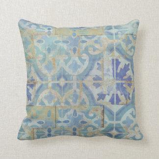 Sand n Sea Coastal Beach White Aqua Ocean Blue Art Throw Pillow