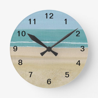 Sand Ocean Sky Waves Beach Wall Clock