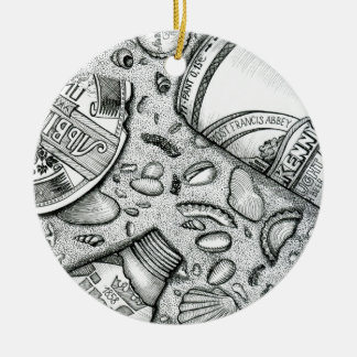 sand , party, beach , beer , sea shells round ceramic ornament
