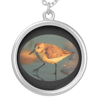 Sand Piper Walking Silver Plated Necklace
