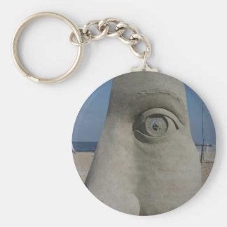 sand sculpture basic round button keychain