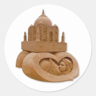 Sand sculpture of Taj Mahal by  Sudarsan Pattnaik Round Sticker