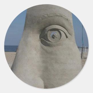 sand sculpture round sticker