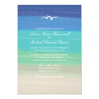 Sand, Sea & Seagulls   Painted Ocean Wedding Card