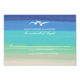 Sand, Sea & Seagulls   Painted Ocean Wedding RSVP Card