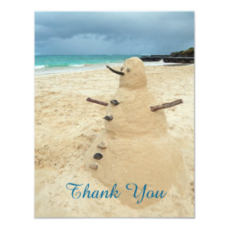 Sand Snowman Beach Thank You Card