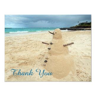"Sand Snowman Beach Thank You Card 4.25"" X 5.5"" Invitation Card"