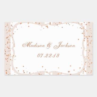 Sand Stripes & Rose Gold Confetti Wedding Monogram Sticker