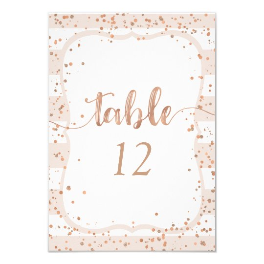 Sand Stripes Rose Gold Table Number Seating Chart Card