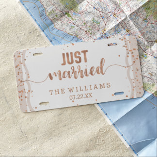 Sand Stripes & Rose Gold Wedding Just Married License Plate