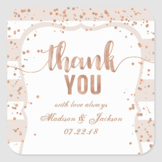 Sand Stripes & Rose Gold Wedding Love Thanks Square Sticker