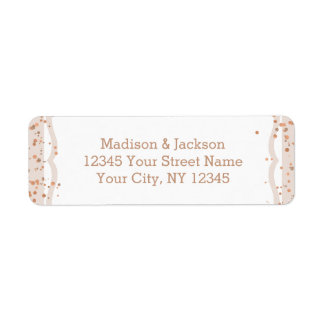 Sand Stripes & Rose Gold Wedding Return Address