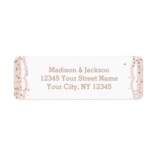 Sand Stripes & Rose Gold Wedding Return Address Return Address Label