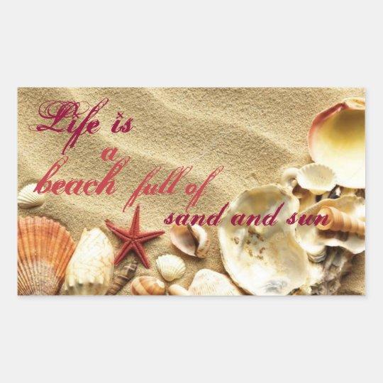 Sand & Sun & Shells Retangular Stickers