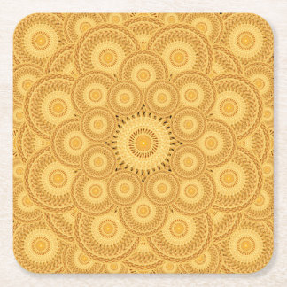 Sand Swirls Mandala Square Paper Coaster