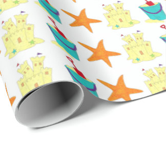 Sand Toys Beach Sandcastle Starfish Shovel Wrap Wrapping Paper