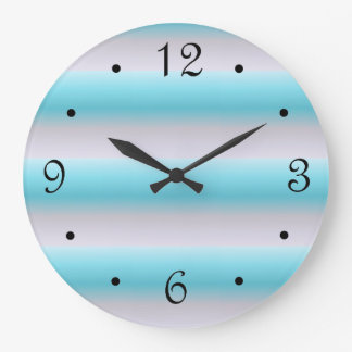 Sand Turquoise Stripes Pattern Large Clock