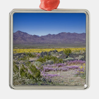 Sand Verbena & Desert Gold at Amboy Crater, CA, Silver-Colored Square Ornament