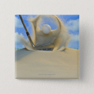 sand wedge hitting a golf ball out of a sand 2 2 inch square button