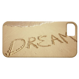 Sand writing 'Dream' with incoming surf at top iPhone 5 Covers