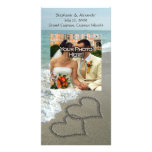 Sand Writing on the Beach, Interlocking Hearts Photo Cards
