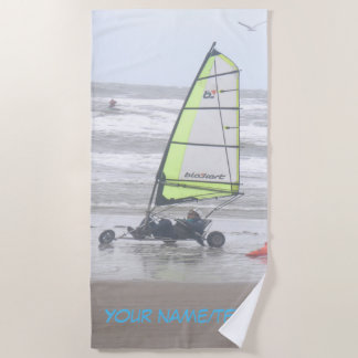 Sand Yachting with Seagul Cust. Beach Towel