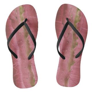 SANDAL SLIPPER WITH ART MODERN GREEN ROSE FLIP FLOPS
