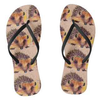 sandalen with handpainted hedgehog flip flops