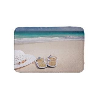 Sandals and Hat on Ocean Beach Bath Mat