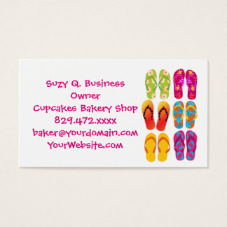 Sandals Colorful Fun Beach Theme Summer Business Card