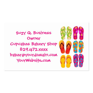 Sandals Colorful Fun Beach Theme Summer Pack Of Standard Business Cards