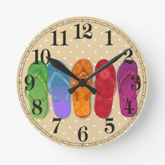 Sandals flip-flops beach party - sand dots wallclocks